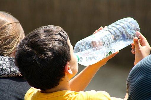 Boy Drinking From Bottle, Child Drinking Water