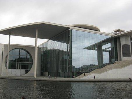 Berlin, Bundestag, Glass, Concrete, Water, Merkel