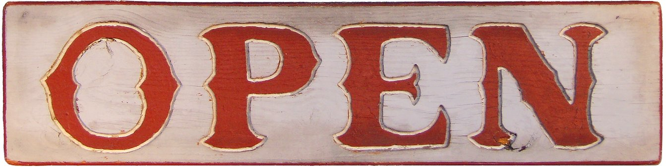 Sign, Open, Vintage, Wooden, Red, Word, Carving