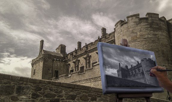 Sterling Castle, Castle, Sky, Clouds, Easel, Hand, Draw