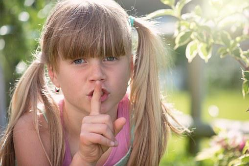 Child, Girl, Blond, Summer, Out, Face, View, Pssst