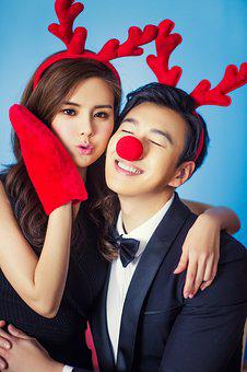 Beauty, Young, A Pair Of, Christmas, Joke, Deer