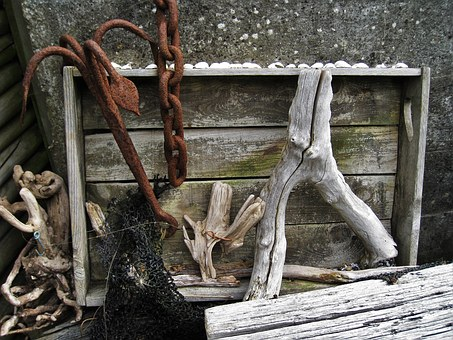 Beach Still Life, Anchor, Rusty, Drift Wood, Flotsam