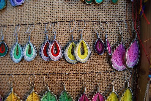 Earrings, Colorful, Colourful, Vendor, Jewelry, Earring