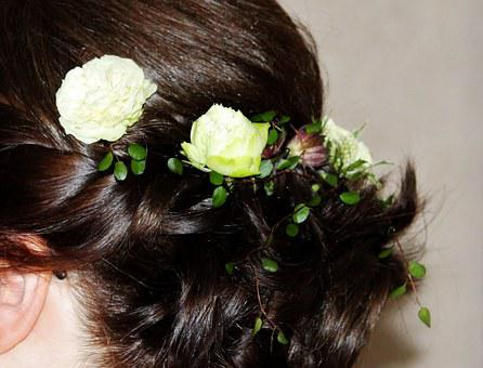 Woman, Hairstyle, Pinned Up, Wedding, Bride, Flowers