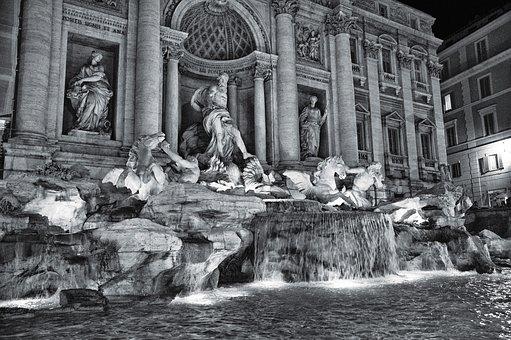 Fountain, Trevi, Fountain Radicchio, Night, Rome, Italy