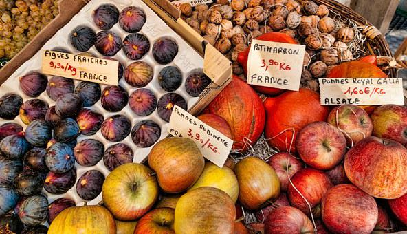 Fruit, France, Market, Figs, Apples, Alsace, Walnuts