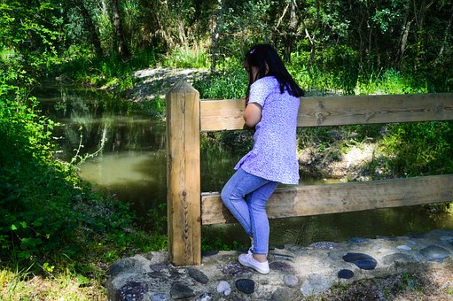 Girl, Walking, Looking At The Water, Admiring