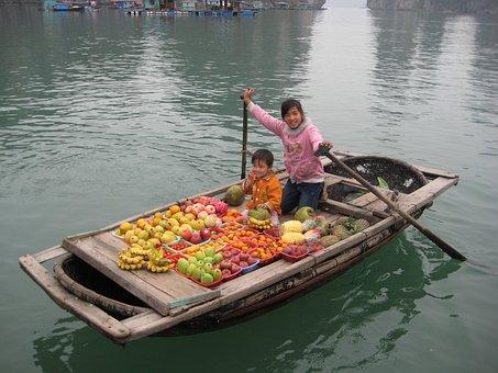 Selling Fruit, Fishing Village, Boat, Halong Bay