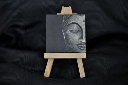 Thumbnail, Handpainted, Miniature Easel, Artistically