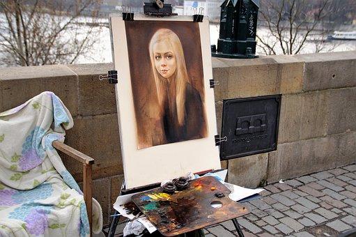 Image, Portrait, Street Artist, Painter, Colors, Easel