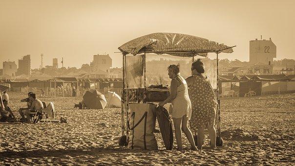 Ladies, Selling, Beach, Sand, Landscape, Nature, Sea