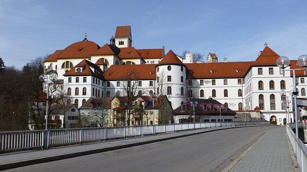 Allgäu, Füssen, Old Town, St Mang Abbey, Lech Bridge