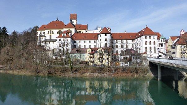 Allgäu, Füssen, Old Town, St Mang Abbey, Lech