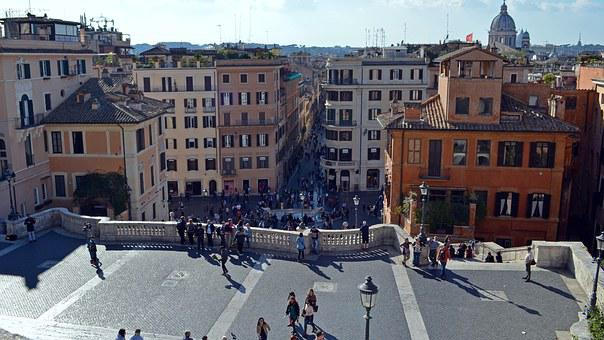 Italy, Rome, Looking Down The Trevi Fountain