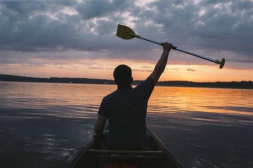 Paddler, Lake, Landscape, Boat, Sunset, Man