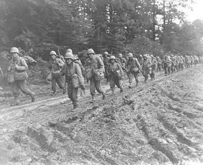 World War Ii, 1944, France, Troops, Marching, Soldiers
