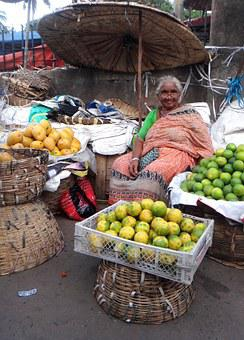 India, Woman, Market, Vegetables, Selling, Fruit