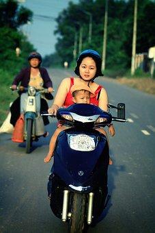 Motorbike, Motorcycle, Driving, Woman, Female, Bike