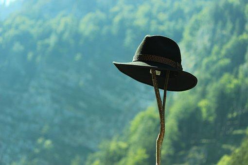 Hat, Insert, Mountains, Landscape, Hiking, Green, Blue