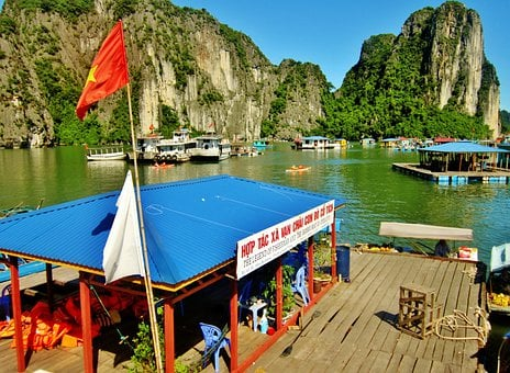 Halong Bay, Vietnam, Water, Mountains, Boats, Scenic