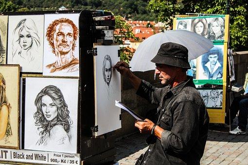 Artist, Painter, Charles Bridge, Prague, Street Artist
