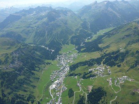 Paragliding, Aerial View, Lech Am Arlberg, Rüfikopf