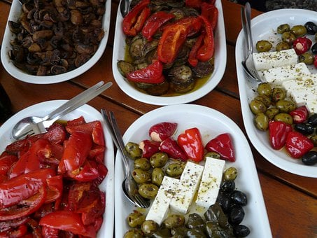 Buffet, Salad Buffet, Salads, Olives, Paprika
