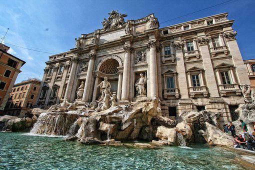 Italy, Rome, Trevi Fountain, Sculpture