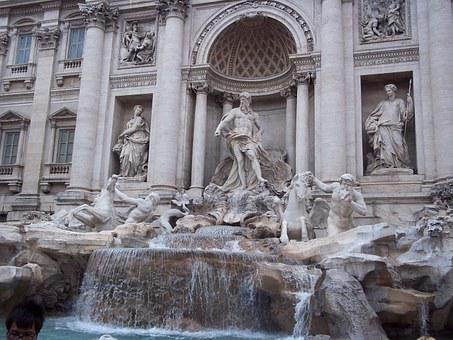Fontana Di Trevi, Rome, Fontana, Sculpture, Source