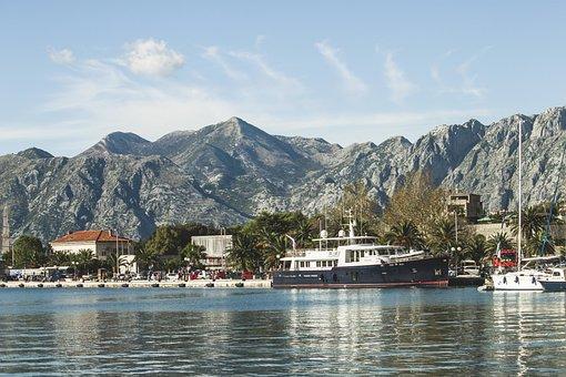 Kotor, Montenegro, Sea, Ship, Mountain, Bay, Town