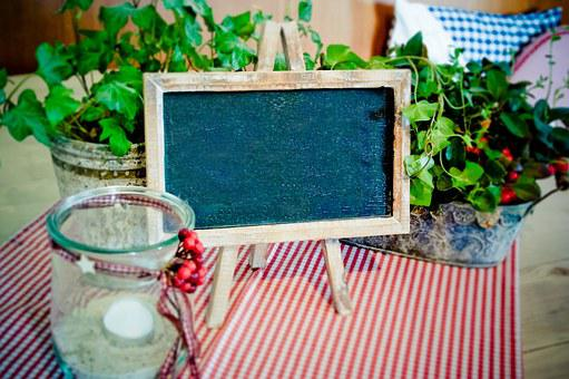 Blackboard, Easel, Table Decoration, Board, Slate