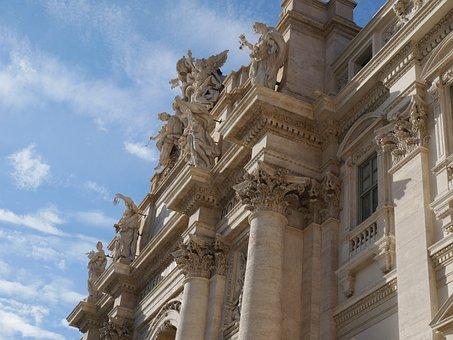 Trevi, Rome, Tevi Fountain, Fountain, Air, Clouds