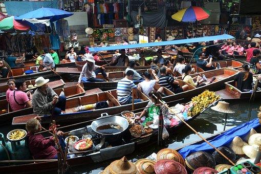 Bangkok, Thailand, Floating Market, Boats, River