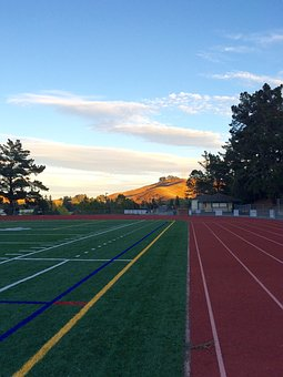 Track And Field, Sunset, Athletic Field, Field, Track