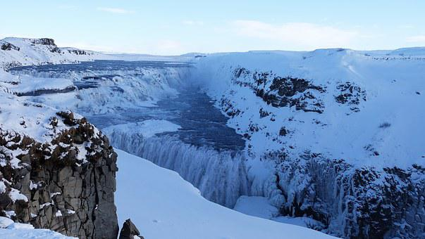 Gullfoss, Waterfall, Gullfoss Great Waterfall, Winter