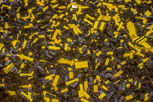 Industry, Pattern, Batch, Lego, Bricks, Yellow, Black