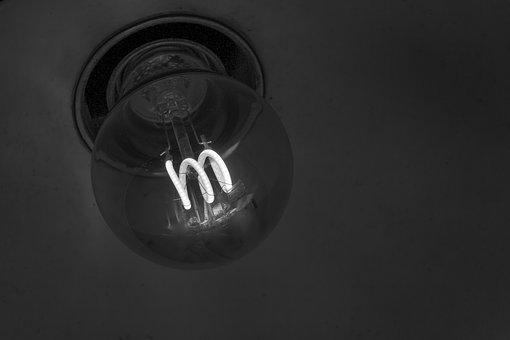 Black And White Photography, Glow Lamp, Lamp, Bulbs