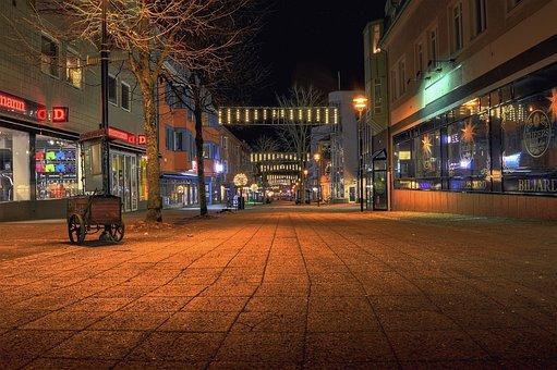 Horizontal, Street, Lit, City, Architecture, Värnamo