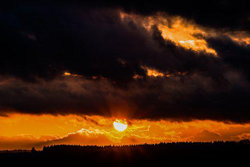 Sunset, Sun, Sunbeam, Clouds, Cloud Cover, Dark Clouds