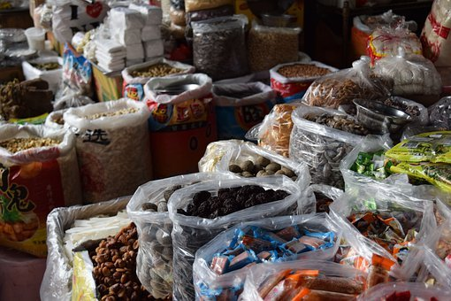 Chinatown, New York, Nyc, Street, Spread, Food