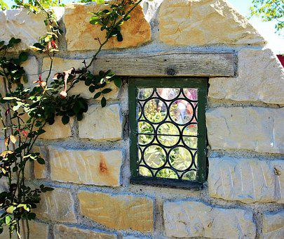Garden, Flowers, Window, Wall, Bullseye, Stone Wall