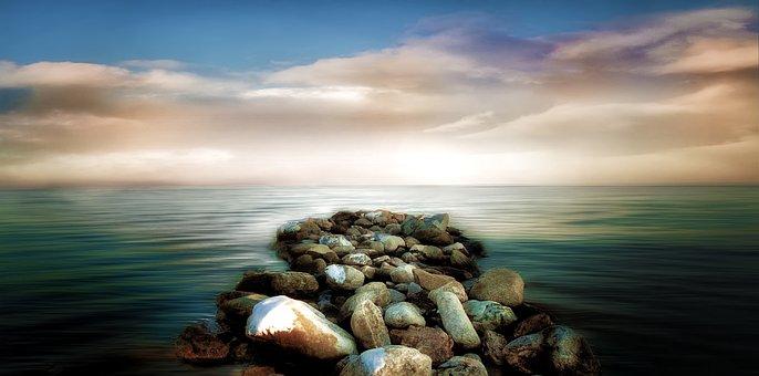 Water, Sea, Seashore, Beach, Nature, Sky, Ocean, Sunset