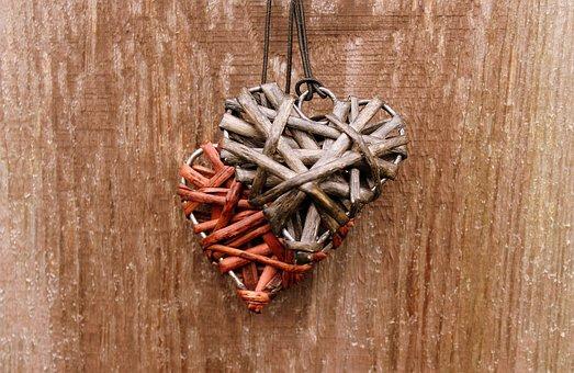 Heart, Wicker, Para, Wooden, Rustic, Pendant