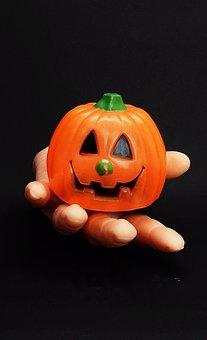Halloween, Pumpkin, Hand, Face, Finger, Orange, Deco