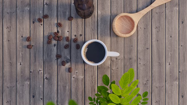 Wood, Coffee, The Leaves, Spoon, Background