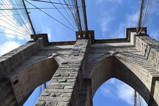 New York, Nyc, Usa, America, Brooklyn Bridge, Bridge