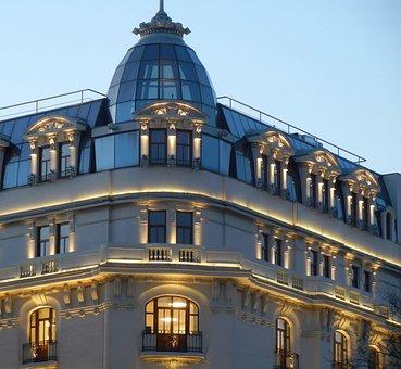 Architecture, Building, Lights, Facade, Windows
