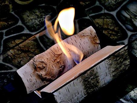 Bio, Fireplace, Burning, Ceramic, Birch, Logs, Flame