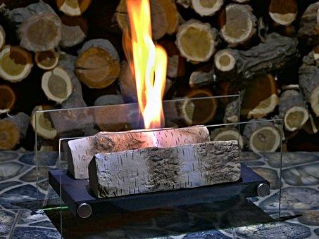 Bio, Fireplace, Burning, Alcohol, Ceramic, Birch, Logs